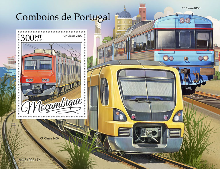 Portugal trains - Issue of Mozambique postage Stamps