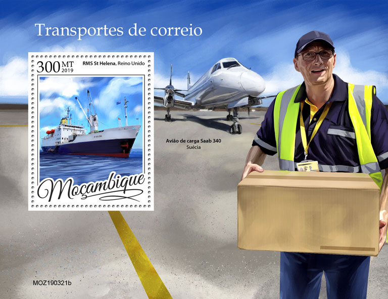Mail transport - Issue of Mozambique postage Stamps