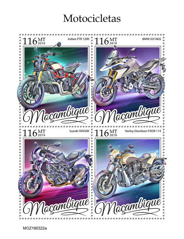 Motorcycles - Issue of Mozambique postage Stamps