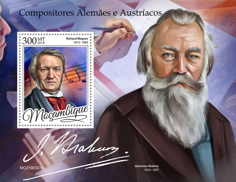 German-Austrian composers - Issue of Mozambique postage Stamps