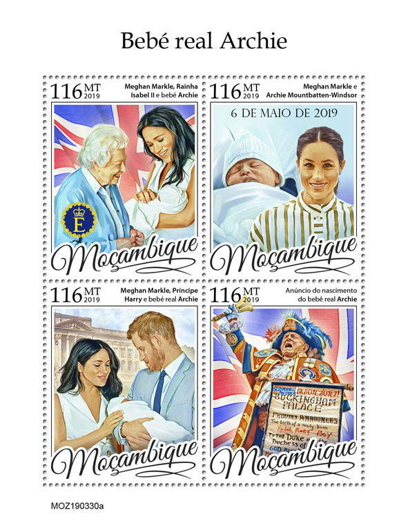 Royal baby Archie - Issue of Mozambique postage Stamps