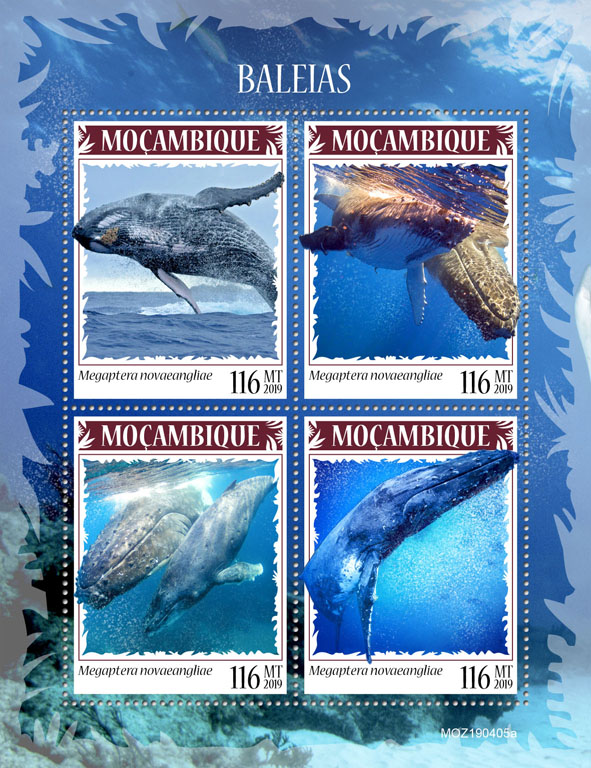 Whales - Issue of Mozambique postage Stamps