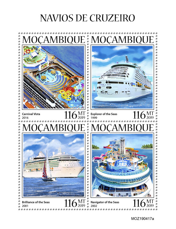 Cruise ships - Issue of Mozambique postage Stamps
