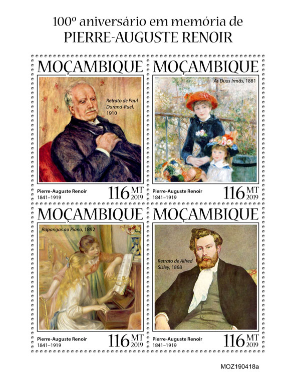 Pierre-Auguste Renoir - Issue of Mozambique postage Stamps