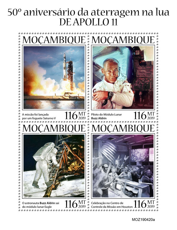 Apollo 11 - Issue of Mozambique postage Stamps