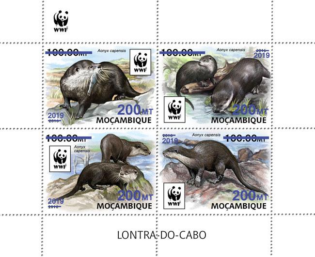 WWF overprint: Otter 4v (dark blue foil) - Issue of Mozambique postage Stamps