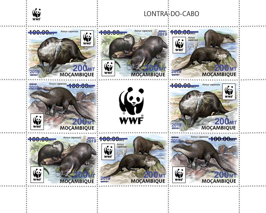 WWF overprint: Otter 8v (dark blue foil) - Issue of Mozambique postage Stamps