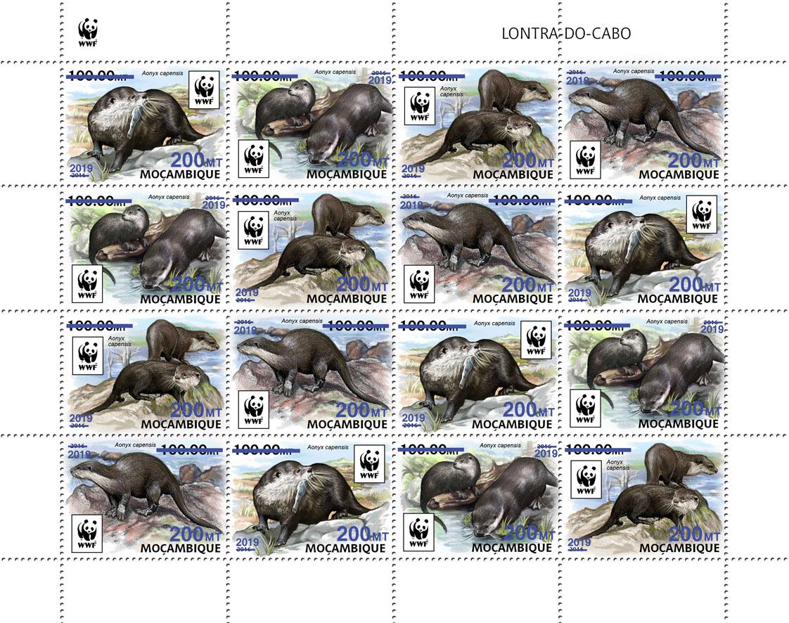 WWF overprint: Otter 16v (dark blue foil) - Issue of Mozambique postage Stamps