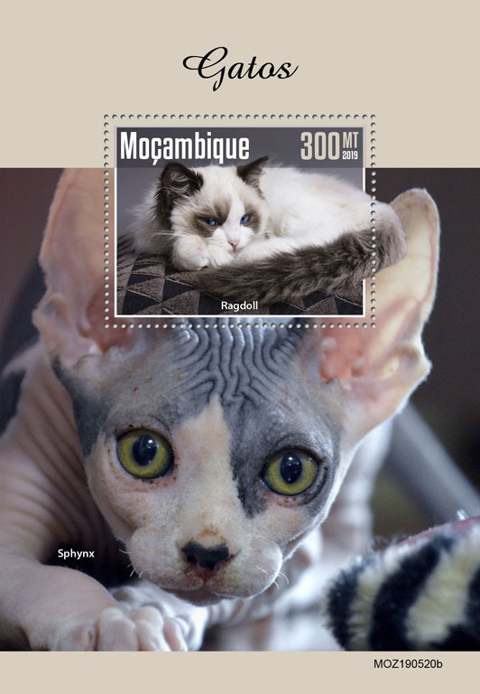 Cats - Issue of Mozambique postage Stamps