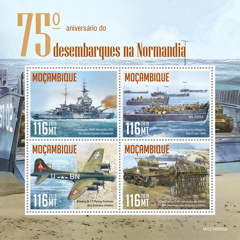 Normandy landings - Issue of Mozambique postage Stamps